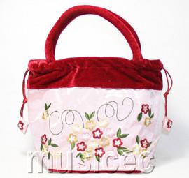 popular pink Chinese Embroider silk flower handbag bag purses T451A30
