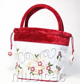 popular white Chinese Embroider silk flower handbag bag purses T450A30