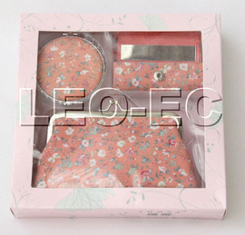 set salmon pink fleuret Jewelry silk mirror bags pouches Boxes set T364A20