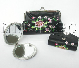 set Black colors Jewelry silk mirror bags pouches Boxes set T355A20