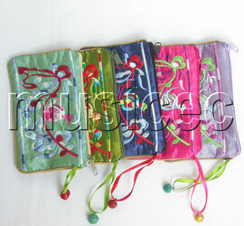 5piece MIX colors zipper embroider silk Jewelry bags handbag pouches T304A6