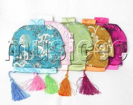 "NEW 5pcs Mix 6X6"" Jewelry silk bags handbag zipper pouches T138A608"