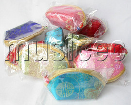 wholesale 10 piece mixed colors silk Jewelry bags purses T137A204