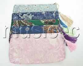 """NEW 8""""X4"""" 5pcs Mixed colors Jewelry silk bags handbag zipper pouches T116A08"""