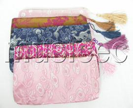 """NEW 8""""X4"""" 5pcs Mix colors Jewelry silk bags handbag zipper pouches T115A08"""