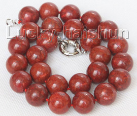 """natural 19"""" 16mm round red sponge coral beads necklace j10510"""