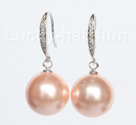 Dangle 14mm round pink south sea shell pearls Earrings 925 silver hook j10529