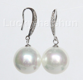 Dangle 14mm round white south sea shell pearls Earrings 925 silver hook j10531