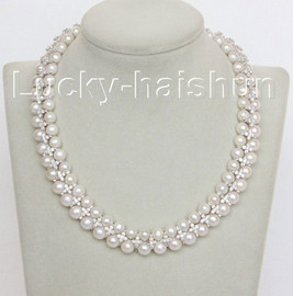 """natural 15"""" 2row 9mm 8mm round white pearls white zircon necklace j10549"""
