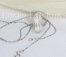 "17"" 21mm round twin peanut white pearl pendant necklace 925s silver j10675"