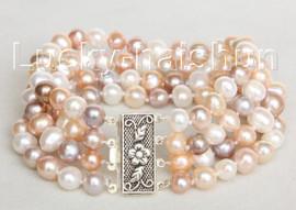"8"" 4 Strand 8mm Multicolor FW pearls bracelet 925 silver clasp j10684"