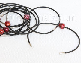 wholesale 10 piece 11mm wine red FW pearls Black leather bracelet j10716