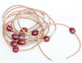 wholesale 10 piece 11mm wine red FW pearls khaki leather bracelet j10727