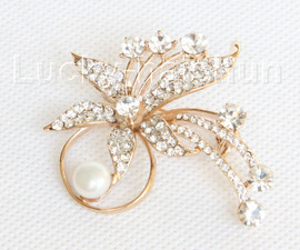 """2""""X2"""" flower white south sea shell pearls Brooch gold plated j10770"""