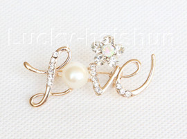 """2""""X1"""" white south sea shell pearls Brooch crystal gold plated j10780"""