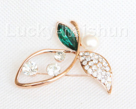 """2""""X1"""" flower white south sea shell pearls green crystal Brooch gold plated j10781"""