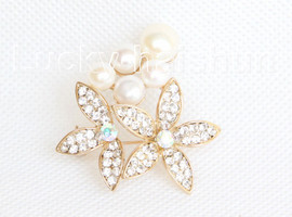 """1.5""""X1.5"""" flower white south sea shell pearls Brooch gold plated j10782"""