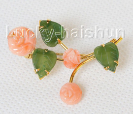 """AAA natural carved 1.5""""X1"""" pink coral green jade brooch j10793A160"""