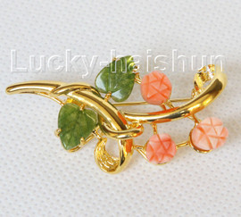 """AAA 100% natural carved 2""""X1"""" pink coral green jade brooch j10796A160"""