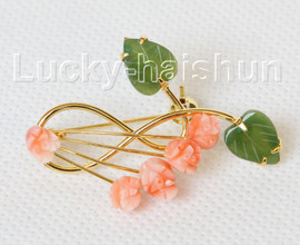 """AAA 100% natural carved 1.6""""X1.1"""" pink coral green jade brooch j10797A160"""