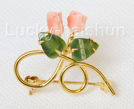 """AAA 100% natural carved 1.4""""X1"""" pink coral green jade brooch j10800A160"""