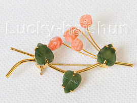 """AAA 100% natural carved 2""""X1"""" pink coral green jade brooch j10802A160"""