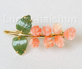 """AAA natural carved 1.5""""X1"""" pink coral green jade brooch j10804A160"""