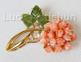 """AAA natural carved 1.8""""X1.3"""" pink coral green jade brooch j10810A300"""