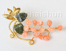 """AAA natural carved 2""""X1.1"""" pink coral green jade brooch j10811A300"""