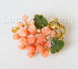 """AAA natural carved 1.2""""X1"""" pink coral green jade brooch j10813A300"""
