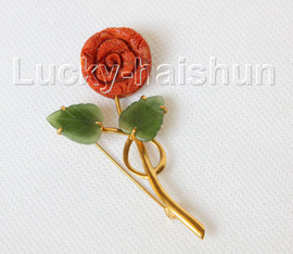 """AAA natural carved 1.3""""X2.6"""" red coral green jade brooch j10814A300"""