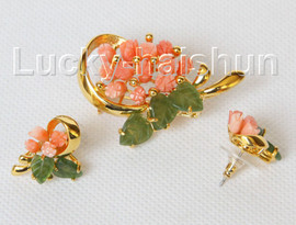 AAA 100% natural carved pink coral green jade Earrings brooch set j10825A560