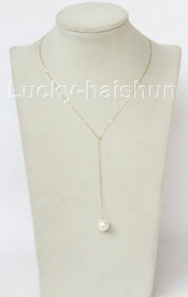 """adjustable 10mm 14K gold Chain round white pearl necklace 18"""" j10942"""