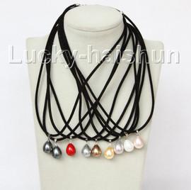 9 piece 12X15mm drop Multicolor south sea shell pearls pendant necklace j10968