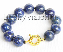 "natural 8"" 16mm round lapis lazuli bracelet gold plated clasp j10987"