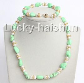 "Genuine 17"" 8"" green turquoise white pearls necklace bracelet set j10998"