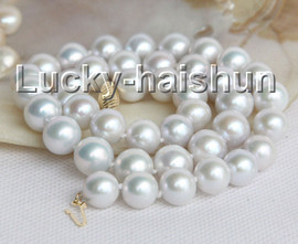 """luster natural 17"""" 11mm round white freshwater pearls necklace 14K clasp j11005"""