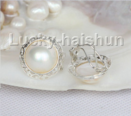 AAA natural 20mm blister white South Sea Mabe Pearls Earrings 925 silver j11096