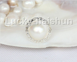 AAA natural 20mm blister white South Sea Mabe Pearls Rings 925 silver 8# j11100