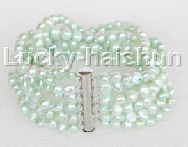"8"" 8mm 6row Baroque light green pearls bracelet magnet clasp j11118"