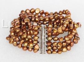 "8"" 8mm 6row Baroque coffee pearls bracelet magnet clasp j11121"