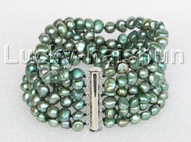 "8"" 8mm 6row Baroque green pearls bracelet magnet clasp j11125"