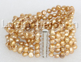 """8"""" 8mm 6row Baroque champagne pearls bracelet magnet clasp j11129"""