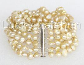 "8"" 8mm 6row Baroque light champagne pearls bracelet magnet clasp j11130"