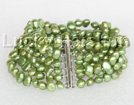 "8"" 8mm 6row Baroque green FW pearls bracelet magnet clasp j11134"