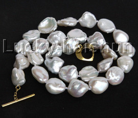 """luster 17"""" 14mm white Reborn keshi pearls necklace gold plated clasp j11181"""