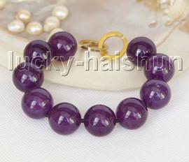 "Genuine 8"" 18mm round amethyst bracelet gold plated clasp j11210"