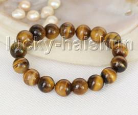 """Genuine 8"""" 12mm round yellw Tiger's Eye bracelet springy j11211"""