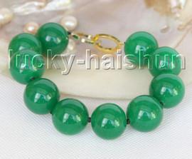 "Genuine 8"" 20mm round green jade bracelet gold plated clasp j11212"