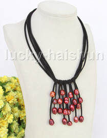 """16""""-18"""" 5row 13mm Baroque wine red freshwater pearls Black leather necklace j11221"""